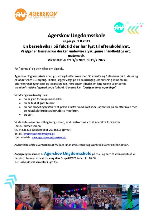 Agerskov Ungdomsskole søger tysklærer